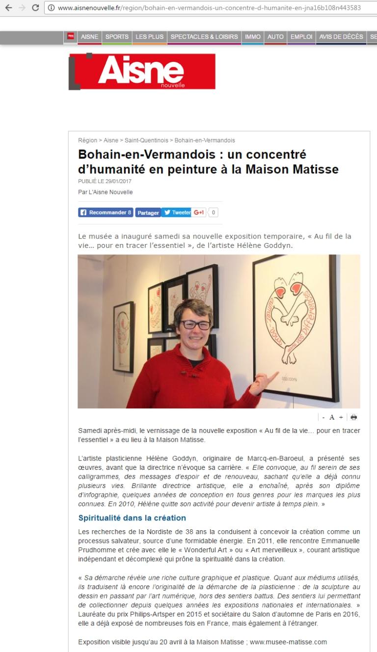 """Exposition personnelle Helene Goddyn : Au fil de la vie... Pour en tracer l'essentiel!. Du 20 janvier au 20 avril au musée """"Maison familiale d'Henri Matisse.a"""